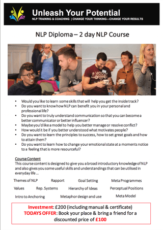 NLP Diploma NLP Course Introduction to NLP Unleash Your Potential